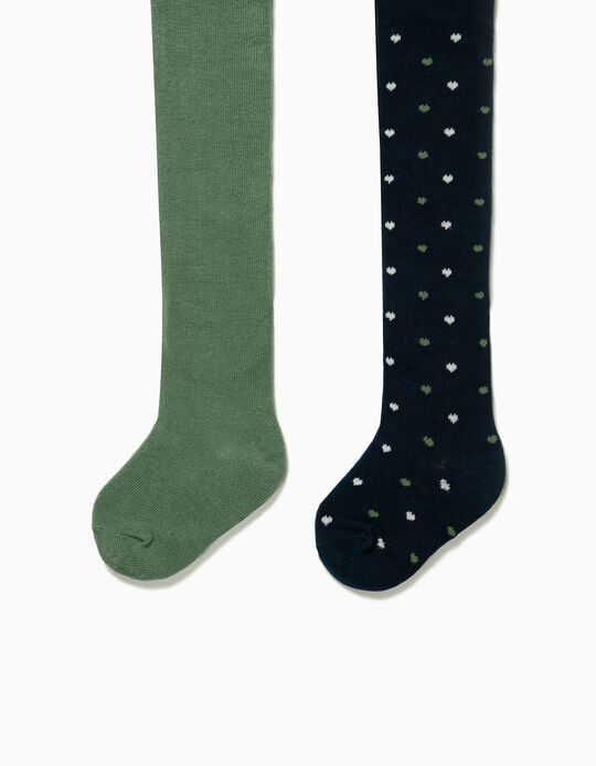 2-Pack Knit Tights for Baby Girls 'Hearts', Dark Blue/Green