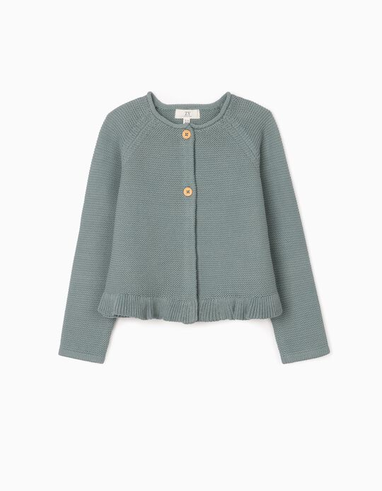 Cardigan for Girl, Blue-Green