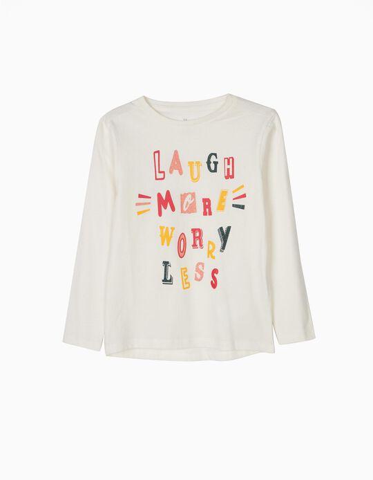 T-shirt Manga Comprida Glitter Text Branca