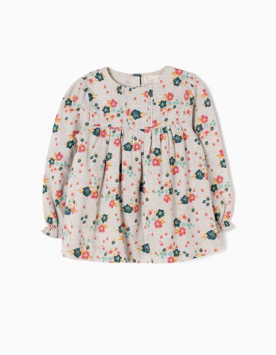 Blusa Menina Flores e Folhos