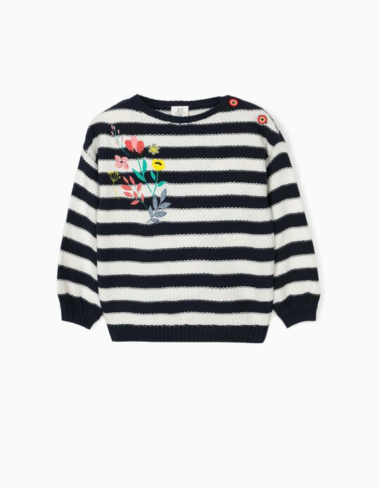 Jumper for Girls, 'Stripes & Flowers', Blue/White