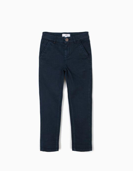 Calças Chino para Menino, Azul Escuro