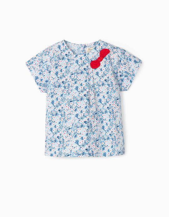 Blusa para Bebé Menina 'Flowers', Azul/Branco/Vermelho
