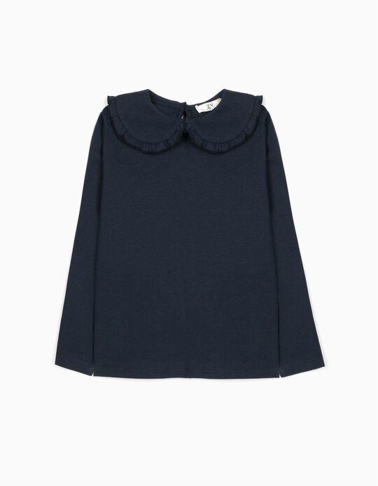 Long Sleeve Top for Girls, Dark Blue