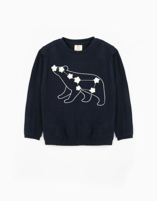 Piqué Knit Sweatshirt for Girls, 'Ursa Major', Dark Blue