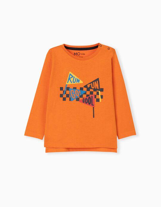 Long Sleeve Top for Baby Boys, Orange