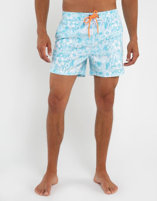Swim Shorts with Tropical Print
