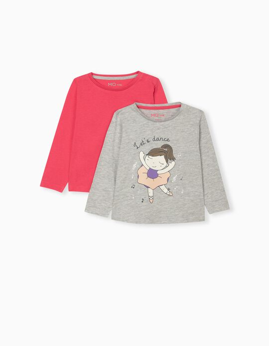 2 Long Sleeve Tops for Baby Girls, Pink/Grey