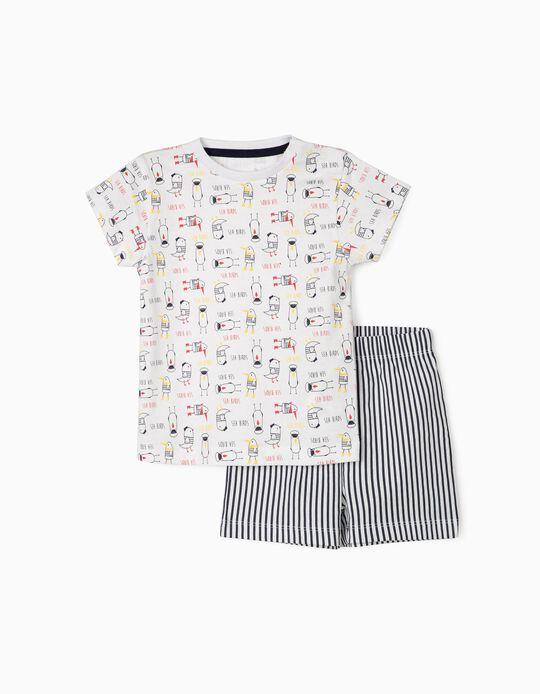 Pijama para Bebé Menino 'Sea Birds', Branco/Azul Escuro