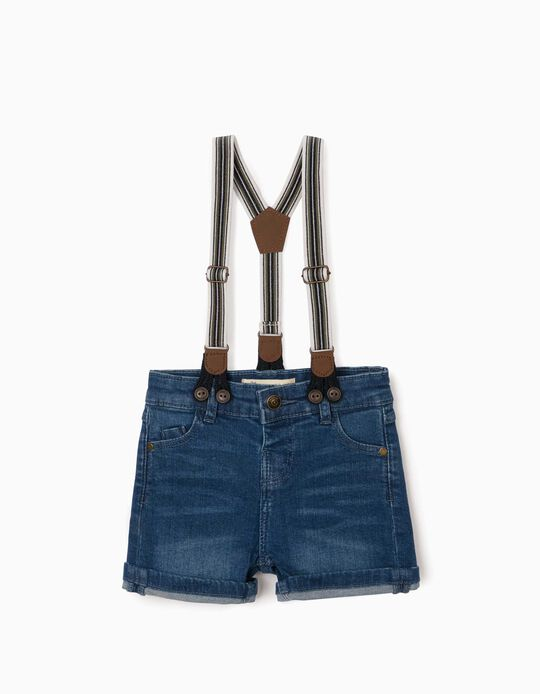 Denim Shorts with Braces, for Baby Boys, Blue