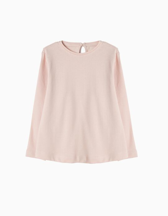 Long-Sleeved Basic Top, Pink