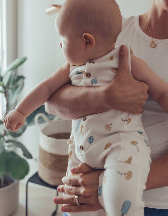 Organic Cotton Jumpsuit for Newborn Baby Boys, White