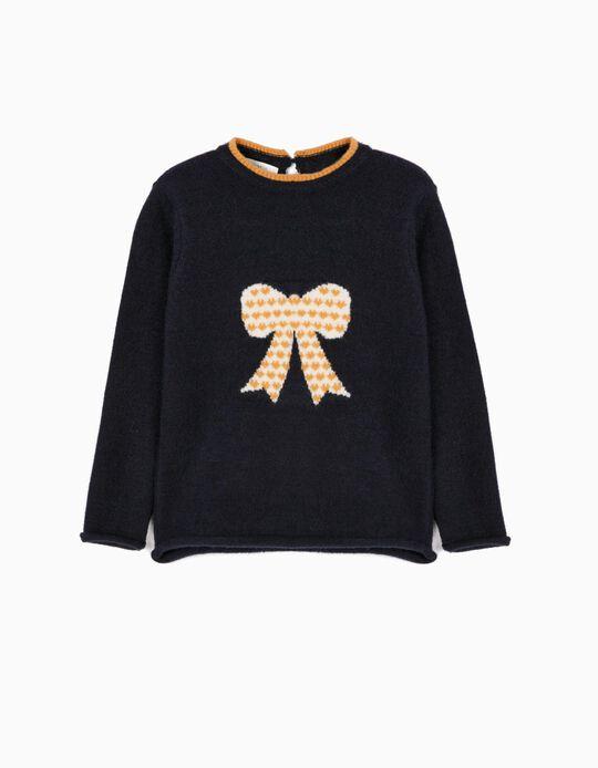 Knit Jumper for Girls 'Bow', Dark Blue