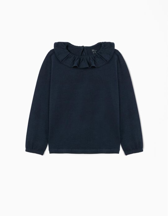 Long Sleeve Top with Ruffle for Girls, Dark Blue