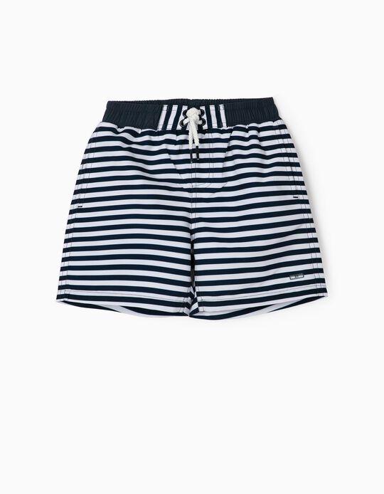 Striped Swim Shorts for Boys, 'Anti-UV 80', Blue/White