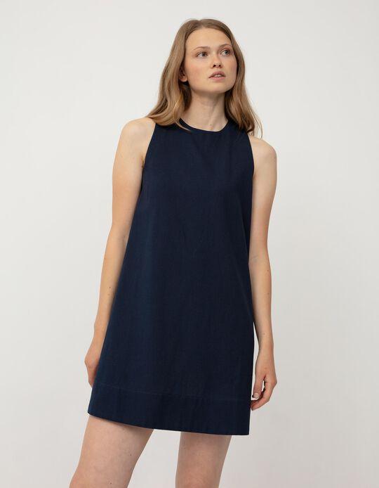 Cotton and Linen Dress, Women, Dark Blue