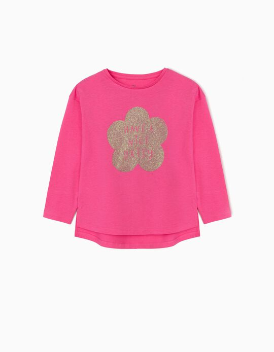Long Sleeve Top for Girls, 'Daisy', Pink