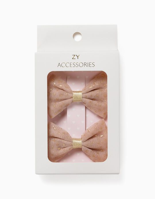 2 Hair Clips for Girls, 'Glitter Bows', Golden