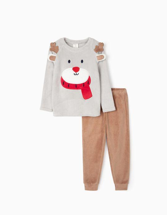 Pyjamas for Boys 'Christmas Bear', Grey/Brown