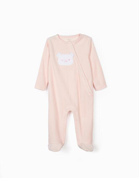 Velour Sleepsuit for Baby Girls 'Cute Bear', Pink