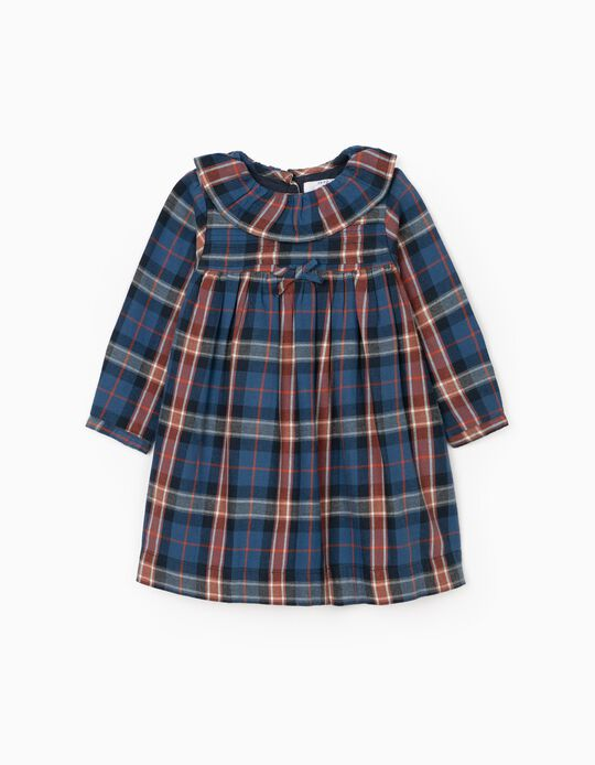 Plaid Dress for Baby Girls, Blue/Red