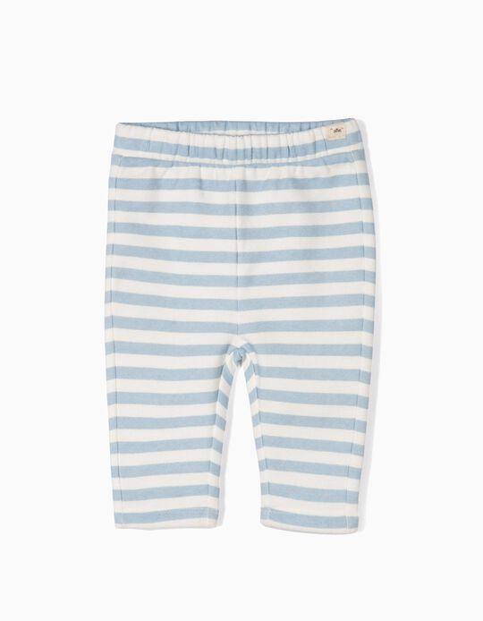 Calças Jersey para Recém-Nascido 'Riscas', Branco e Azul