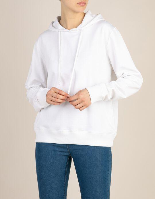 Sweatshirt com capuz bolsos laterais