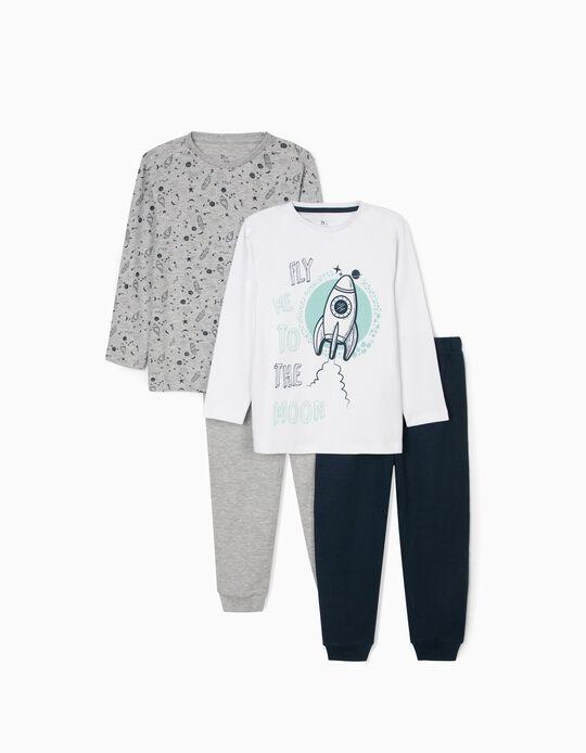2 Pijamas para Menino 'To The Moon', Cinza/Branco/Azul Escuro