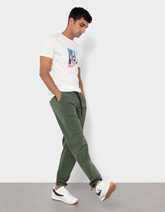 Trousers with Elasticated Waistband for Men, Green