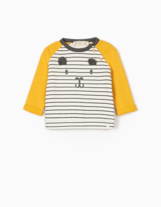 Sweatshirt for Newborn Baby Boys, 'Cute Bear', Yellow/Grey/White