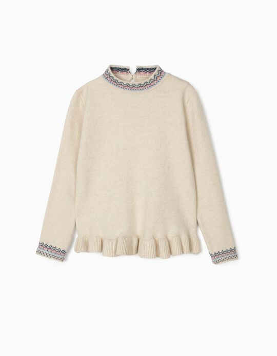 Knit Jumper with Ruffle for Girls, Beige