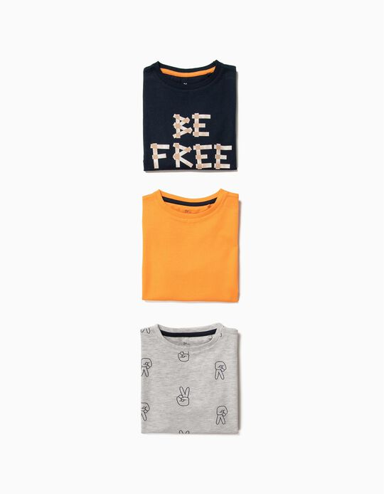 3 T-shirts para Menino 'Be Free', Multicolor