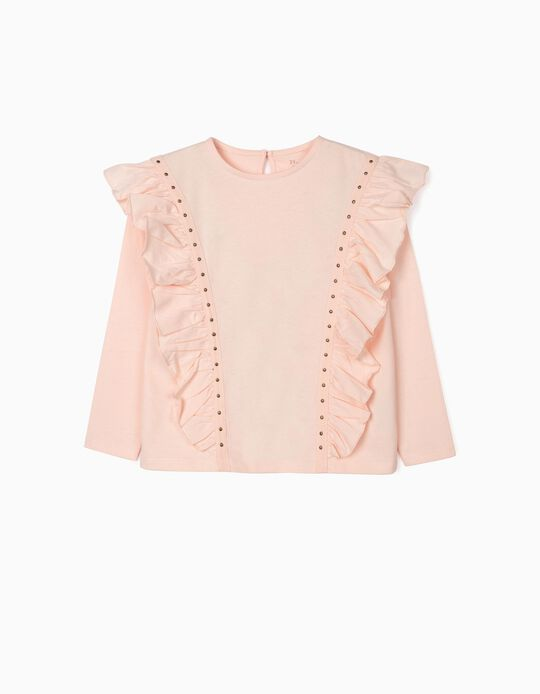 Long Sleeve Top with Ruffles for Girls, Light Pink