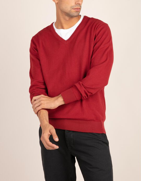 KNIT SWEATER V NECK, DARK RED, L