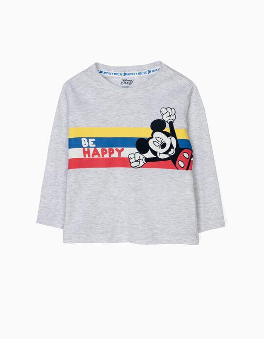 T-shirt Manga Comprida para Bebé Menino 'Mickey Be Happy', Cinza