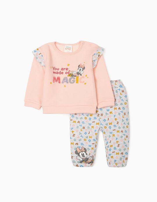 Tracksuit for Newborn Baby Girls 'Magic Minnie', Grey/Pink