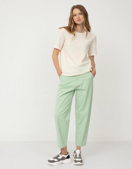 Calças Slouchy Cintura Elástica, Mulher, Verde Claro