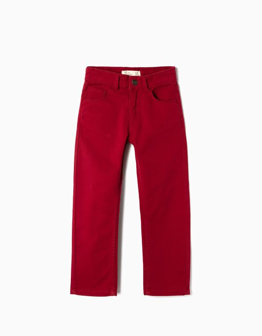 Twill Pants for Boys 'Regular Fit', Bordeaux