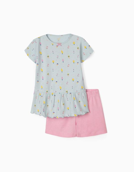 Pyjamas for Girls, 'Ice Creams', Blue/Pink