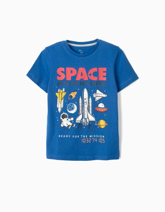 T-shirt for Boys, 'Space Adventure', Blue