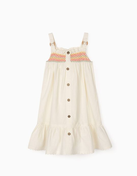 Dress with Linen for Girls, White