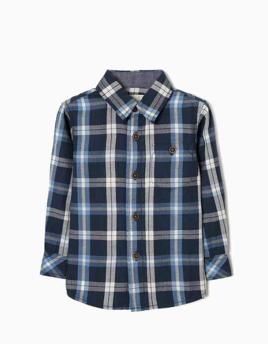 Camisa Xadrez para Bebé Menino, Azul Escuro