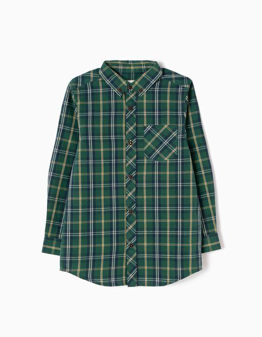 Camisa Menino Xadrez Verde e Amarelo