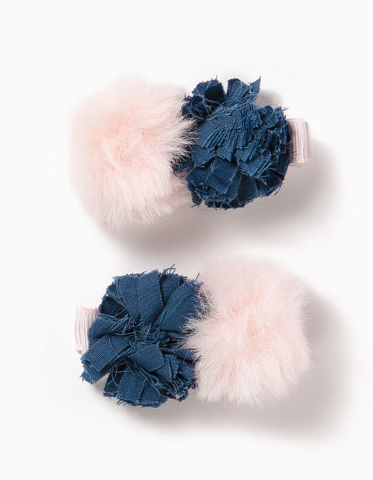Pack of 2 Hair Clips with Pompoms