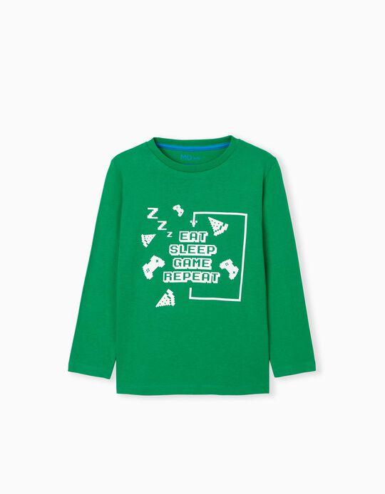 T-shirt Manga Comprida, Menino, Verde