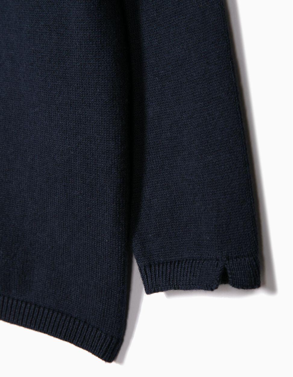 Casaco Malha Azul Escuro