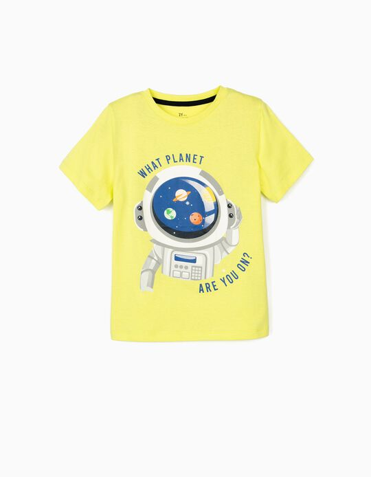 T-shirt for Boys, 'What Planet Are You?', Lime Yellow