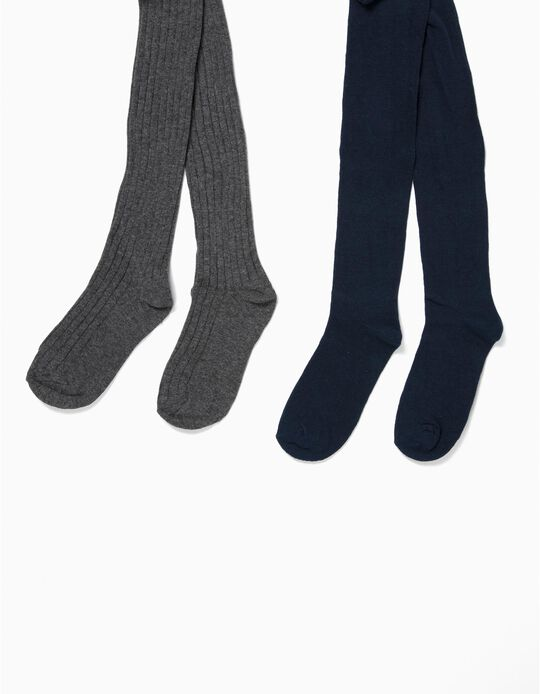 2-Pack Knit Tights for Baby Girls, Dark Grey/Dark Blue