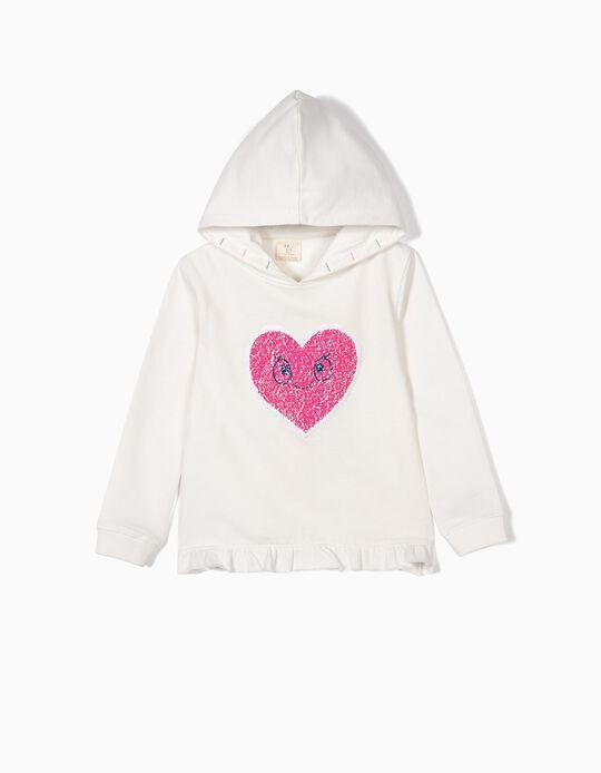 Sweatshirt com Capuz para Menina 'Heart', Branco