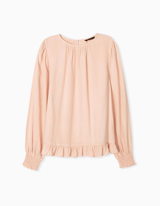 Fluid Blouse with Ruffle, Women, Pink